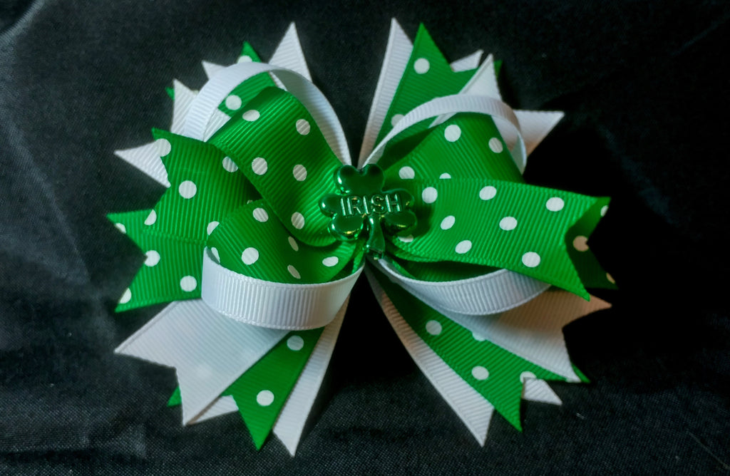 Boutique Stacked Hair Bow - St. Patrick's Day