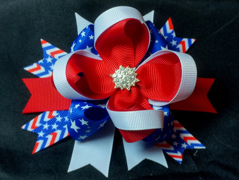 Boutique Stacked Hair Bow - Fourth of July