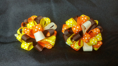 Boutique Mini Hair Bow Puff - Thanksgiving