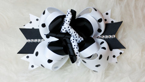 Boutique Stacked  Hair Bow - Black and White Collection