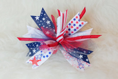 Boutique Burst Spiked Hair Bow - Fourth of July