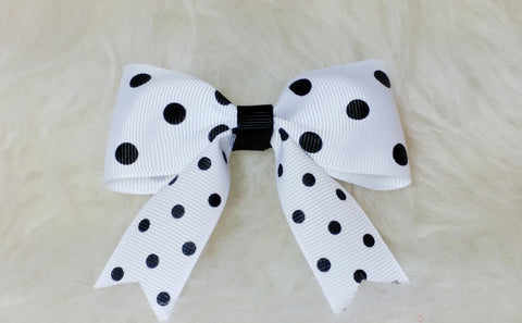 Basic Hair Bow With Tails - Black and White Collection