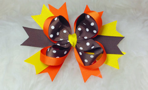 Boutique Stacked Hair Bow - Thanksgiving