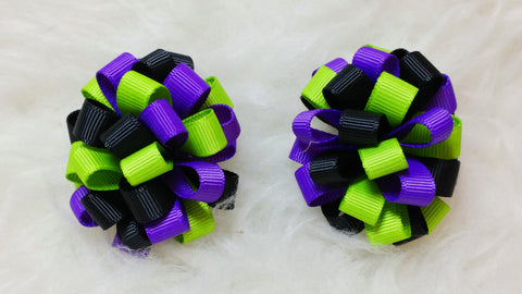 Boutique Mini Hair Bow Puff - Halloween