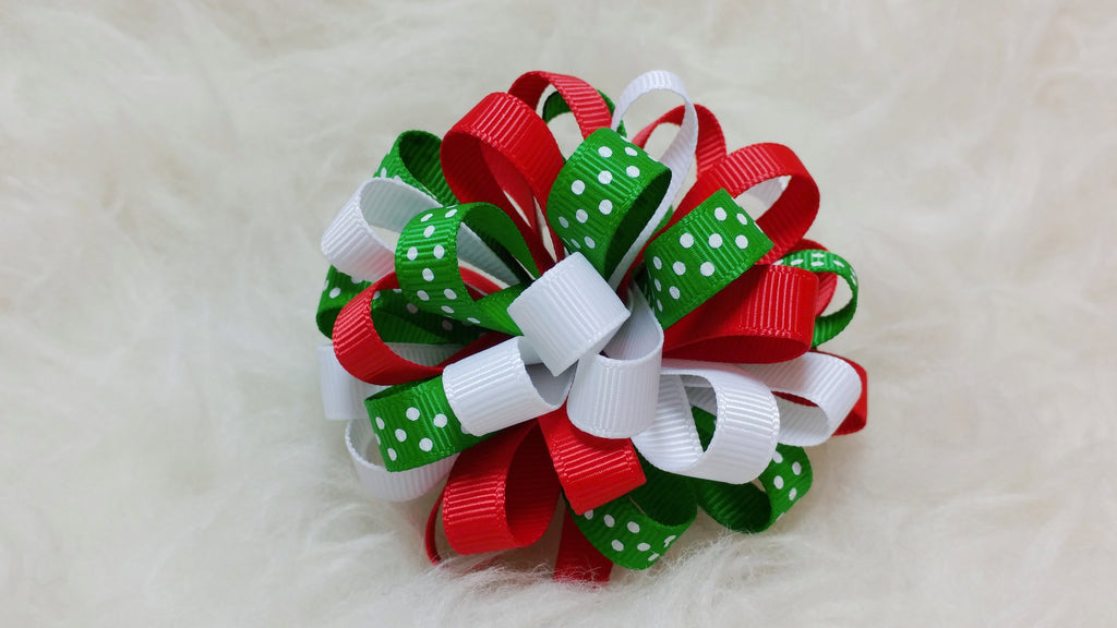 Boutique Hair Bow Puff - Christmas