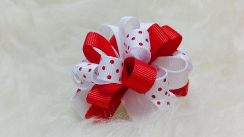 Boutique Mini Hair Bow Puff - Christmas