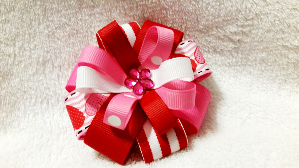 Flower Loop Stacked Hair Bow - Valentine's Day