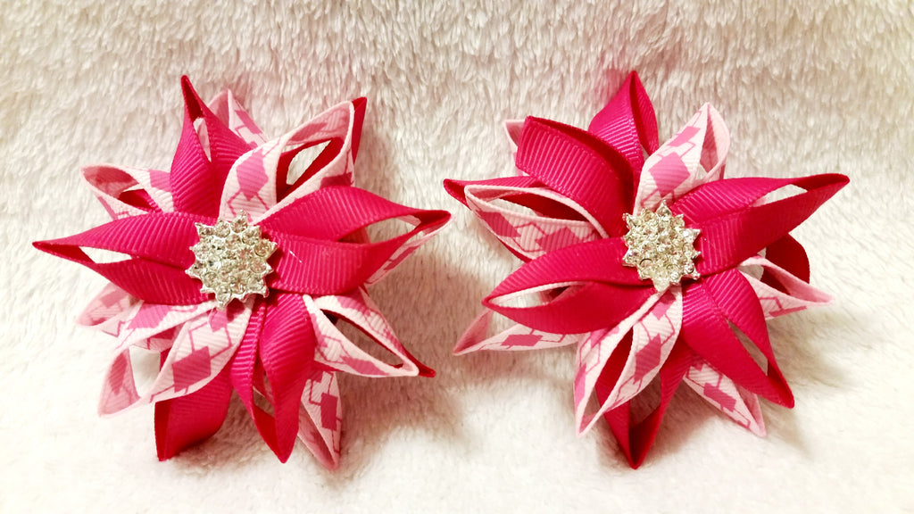 Flower Loop Stacked Hair Bows Set of Two