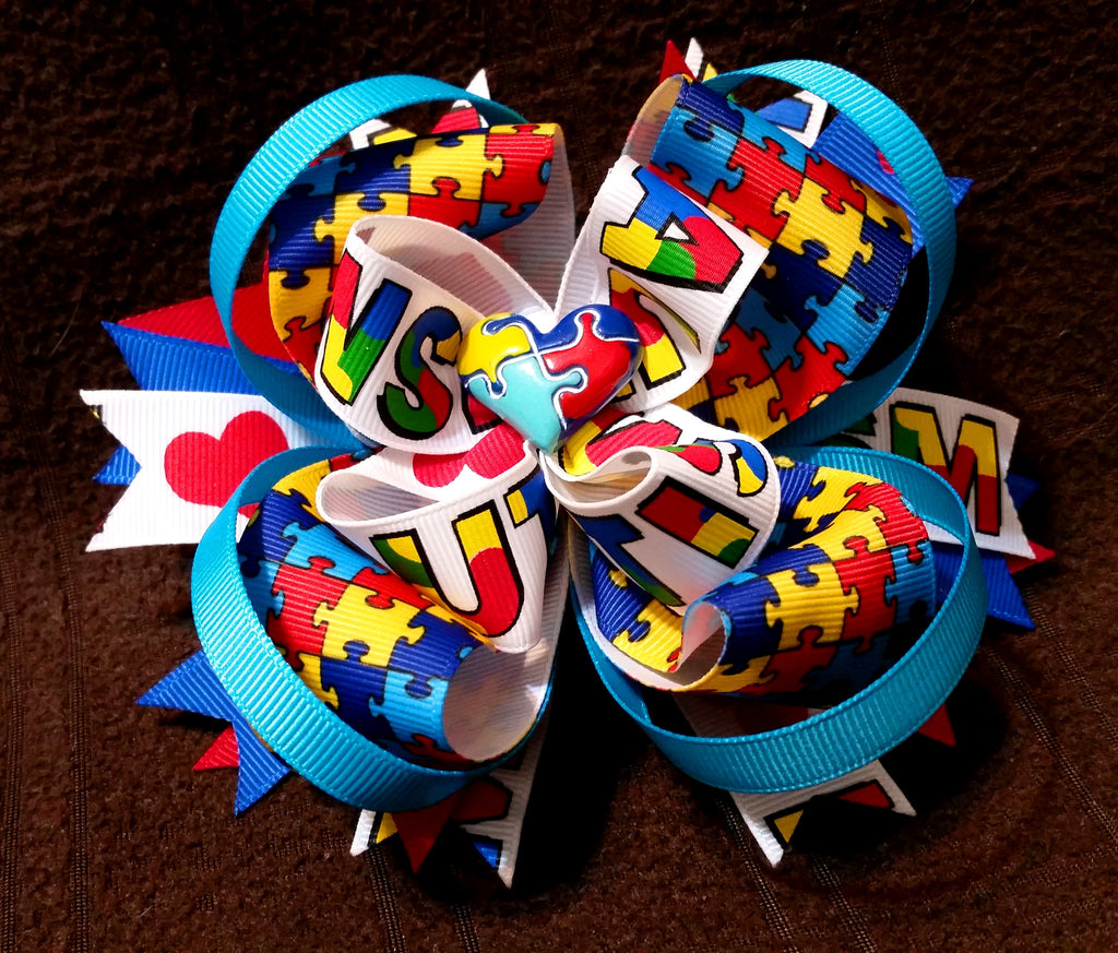 Autism Awareness Boutique Stacked Hair Bow Over-the-Top