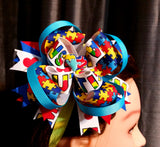 Boutique Stacked Hair Bow - Autism Awareness