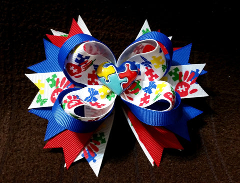 Autism Awareness Boutique Stacked Hair Bow