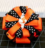 Flower Loop Stacked Hair Bow - Halloween