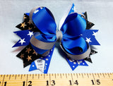Boutique Stacked  Hair Bow - Team Spirit