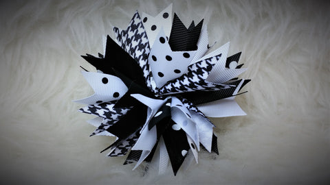 Boutique Burst Spike Hair Bow - Black & White Collection