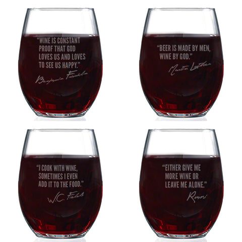 Famous Wine Quotes Stemless Glasses Set of 4, Assorted