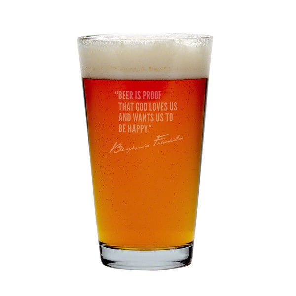 Famous Beer Quotes Pint Glasses Set of 4, Assorted