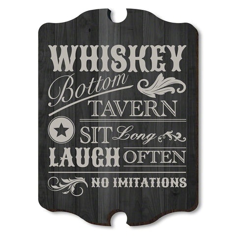 Whiskey Bottom Tavern Wooden Wall Sign, Black & Gray