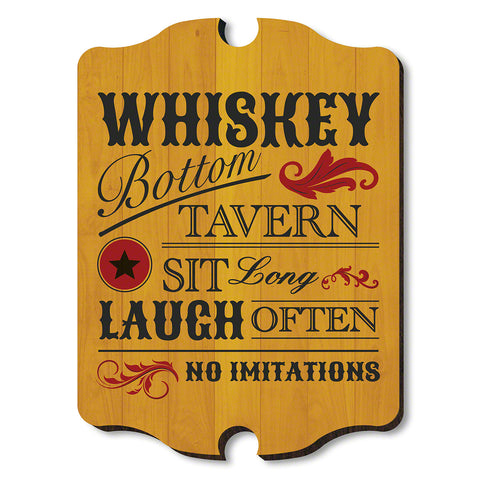 Whiskey Bottom Tavern Wooden Wall Sign, Red & Gold