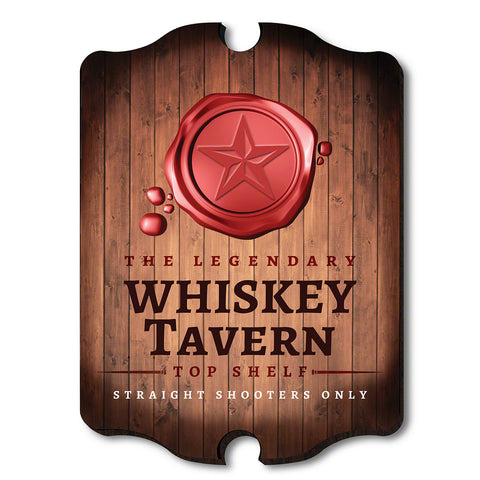 Legendary Whiskey Tavern Wooden Wall Sign, Red & Brown