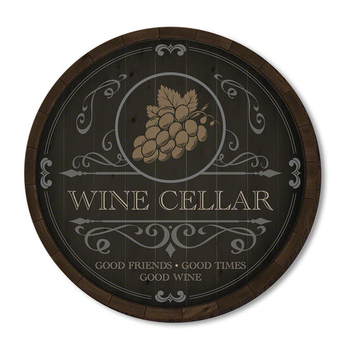 Beauteous Barrel Wine Cellar Sign, Black & Golden