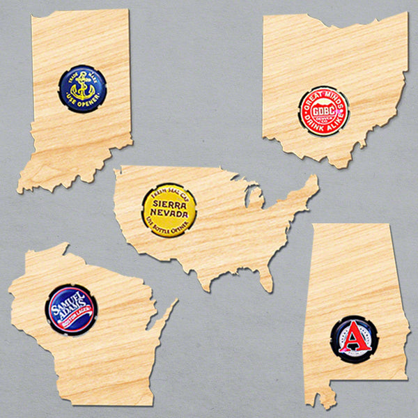 Home State Beer Cap Magnets - Choose Any State - Pack of 6