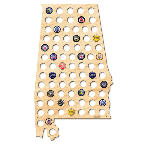 Alabama Beer Cap Map - Large