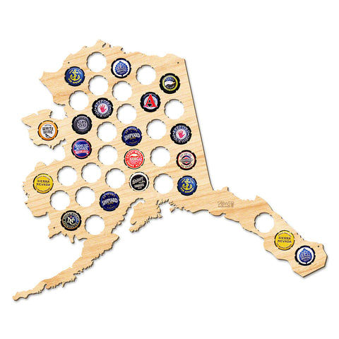 Alaska Beer Cap Map - Large