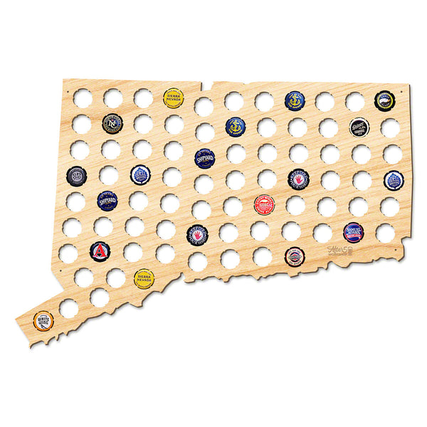 Connecticut Beer Cap Map - Large