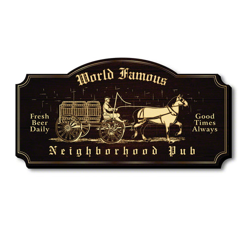 Historic Neighborhood Pub Wooden Wall Sign, Brown & Gold