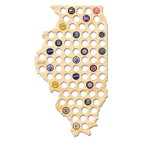 Illinois Beer Cap Map - Large