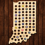Indiana Beer Cap Map - Large