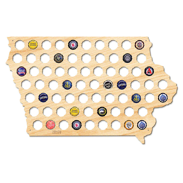 Iowa Beer Cap Map - Large
