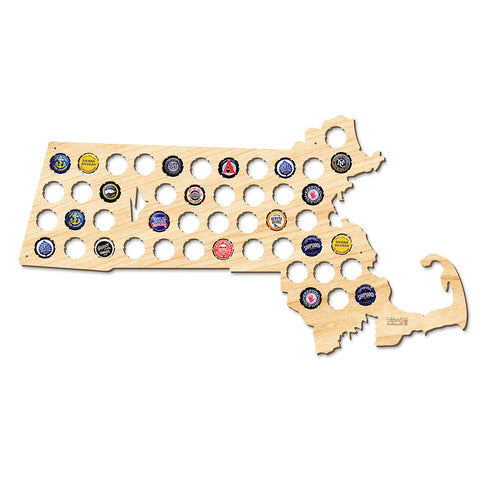 Massachusetts Beer Cap Map - Large
