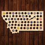 Montana Beer Cap Map - Large
