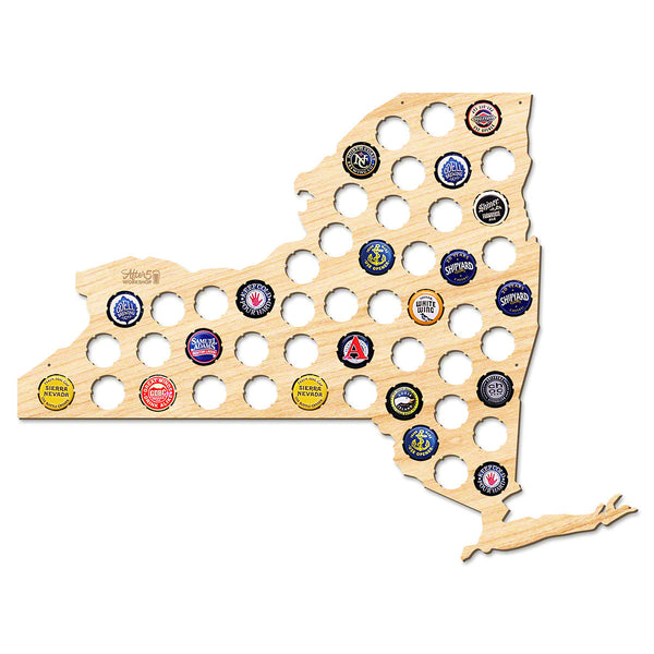New York Beer Cap Map - Large