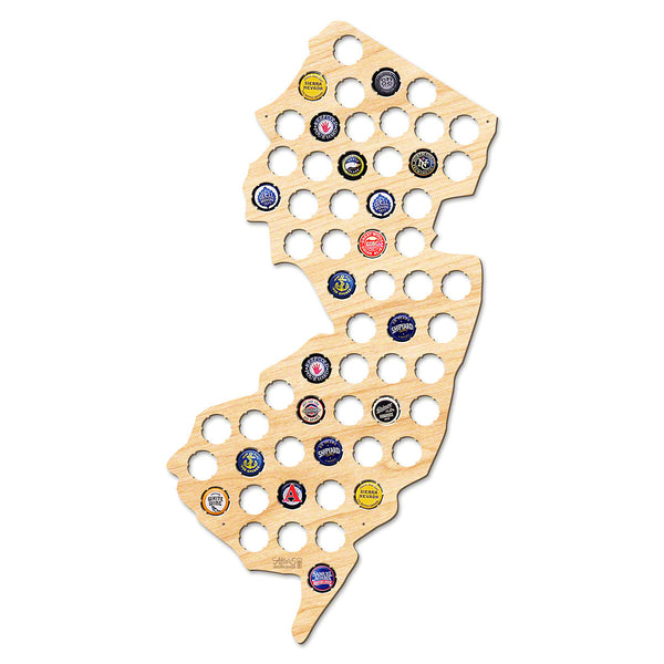 New Jersey Beer Cap Map - Large