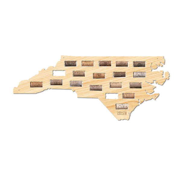 North Carolina Wine Cork Map