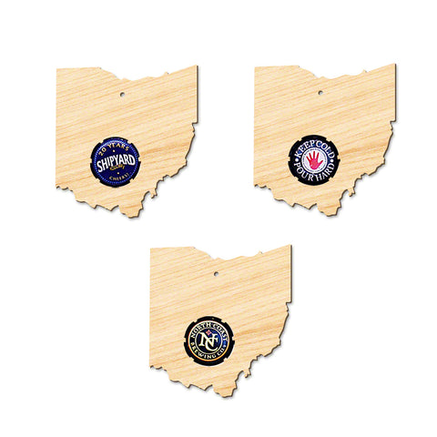 Ohio Wooden Beer Cap Christmas Ornament
