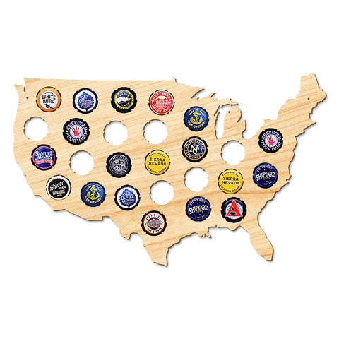 Beer Cap Map of USA - Small