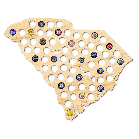South Carolina Beer Cap Map - Large