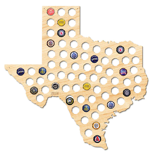 Texas Beer Cap Map - Large