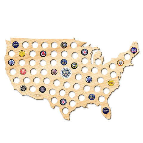 Air Force USA Beer Cap Map W/ Color Medallion