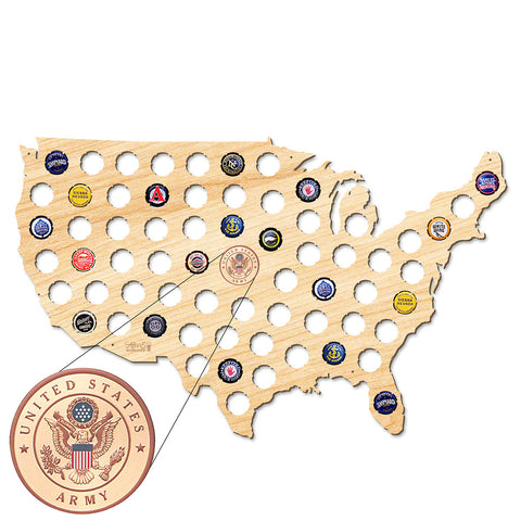 Army USA Beer Cap Map W/ Color Medallion