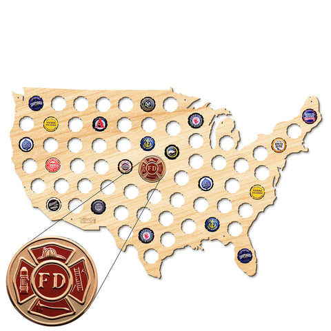 Firefighter USA Beer Cap Map W/ Color Medallion