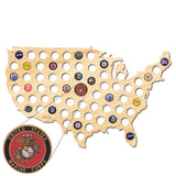 Marine Corps USA Beer Cap Map W/ Color Medallion