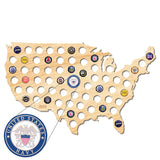 Navy USA Beer Cap Map W/ Color Medallion