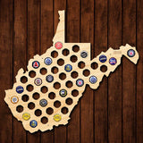 West Virginia Beer Cap Map - Large