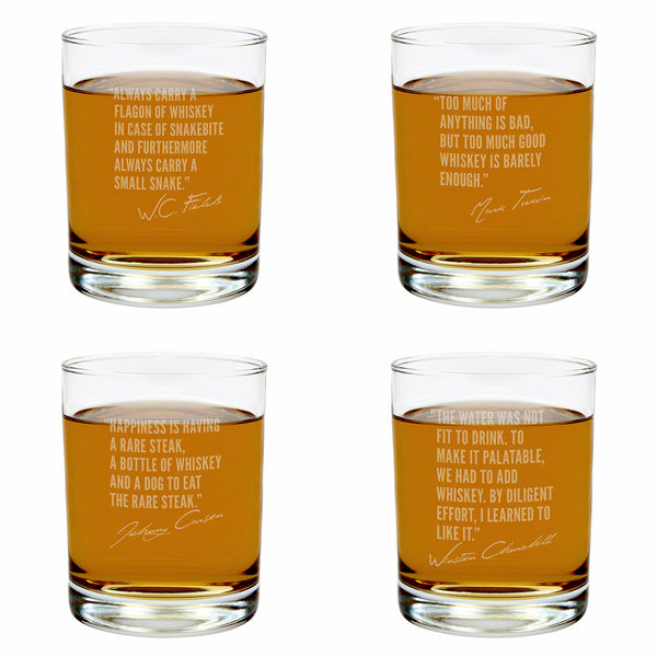 Famous Whiskey Quotes Rocks Glasses Set of 4, Assorted