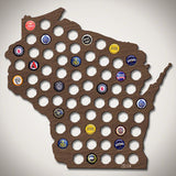 Wisconsin Beer Cap Map - Large