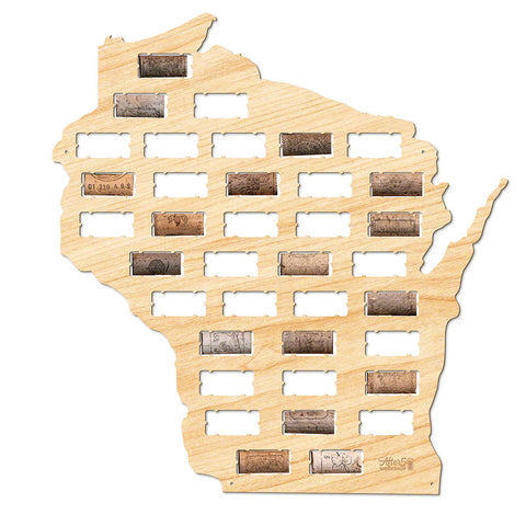 Wisconsin Wine Cork Map